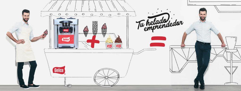 Máquinas de helado en carrito de helados gelice